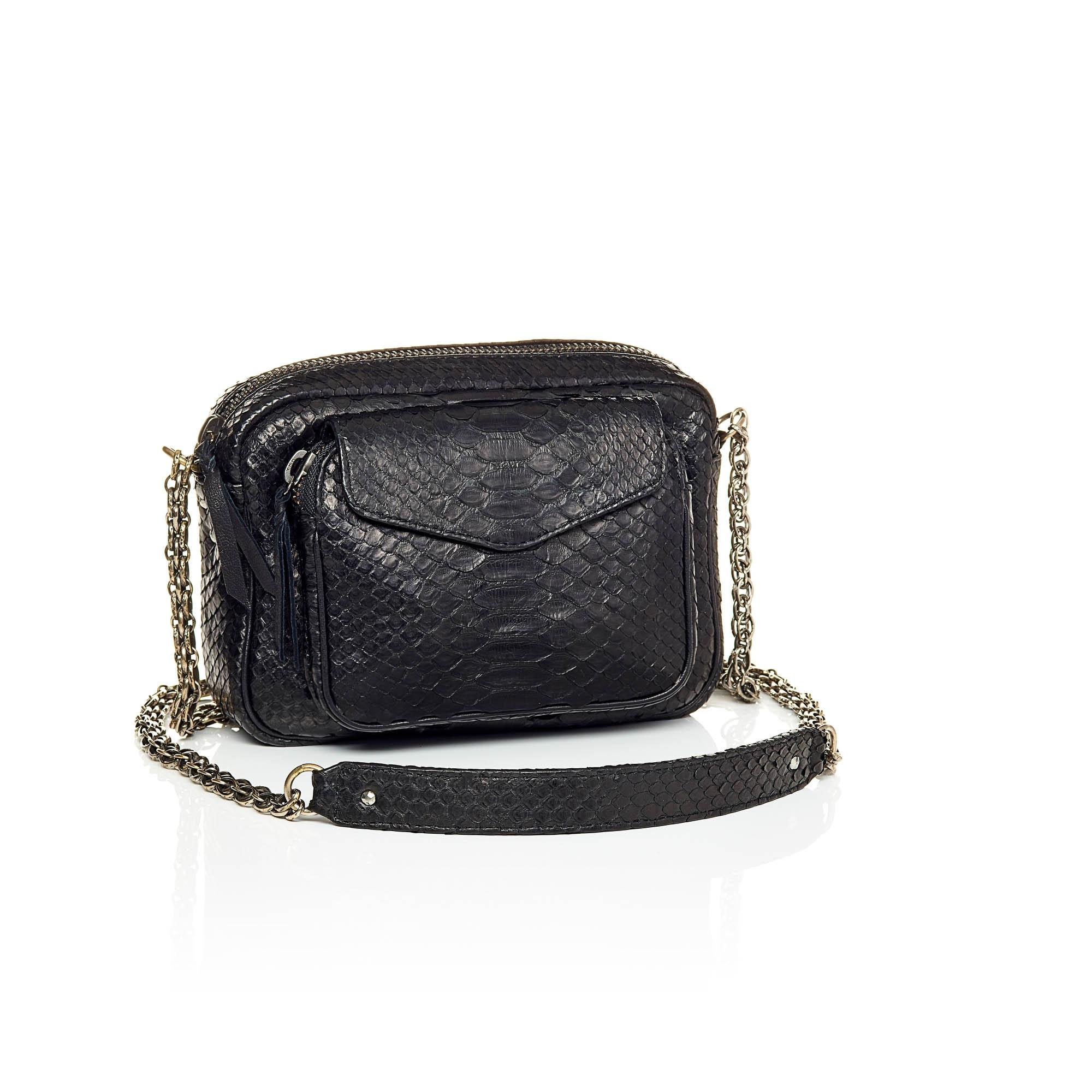 sac bandoulière python noir
