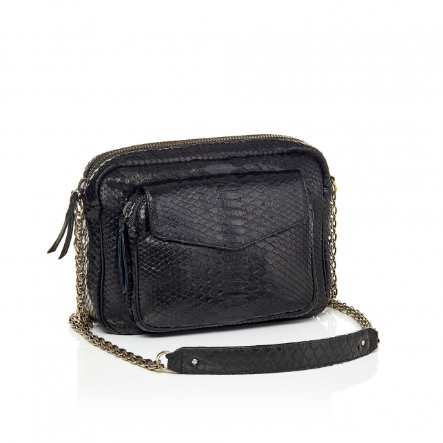 Python Bag Big Charly Black Silver Chain