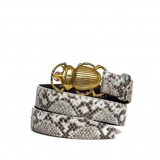Diamond Python Belt Beatle Golden Buckle