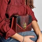 Python Burgundy Mix Romy Beatle Bag