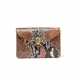 Pink Painted Python Card Holder Alex
