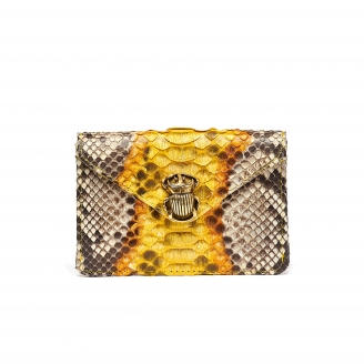 Yellow Painted Python Card Holder Alex