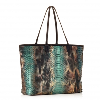 New Metallic Peacock Tote Bag Python Marny