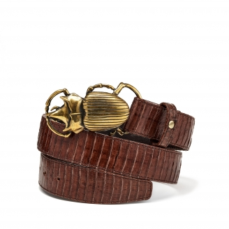 Brown Cobra Belt Beatle Golden Buckle
