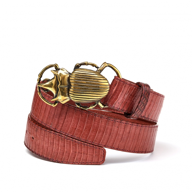 Pink Cobra Belt Beatle Golden Buckle