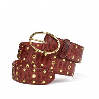 Burgundy Studded Python Belt Phoenix Gold Buckle