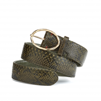 Dark Kaki Python Belt Phoenix Gold Buckle