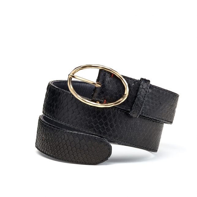 Black Python Belt Phoenix Gold Buckle