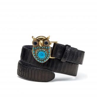 Black Python Owl Belt Gold Buckle
