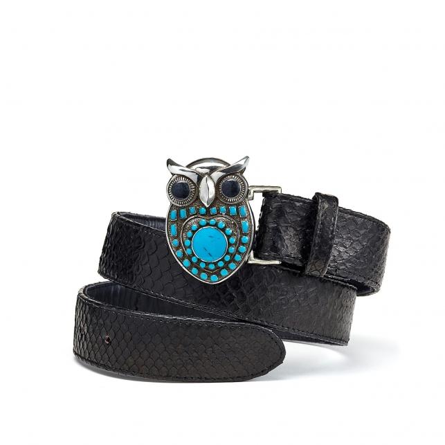 Black Python Owl Belt Silver Buckle