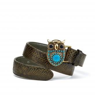Ceinture Python Owl Dark Kaki Boucle Or