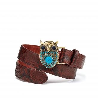 Burgundy Python Owl Belt Gold Buckle