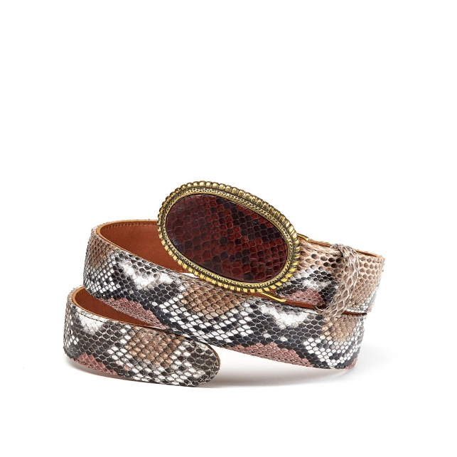 Burgundy Python Dallas Belt Gold Buckle