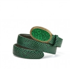 Green Forest Python Dallas Belt Gold Buckle