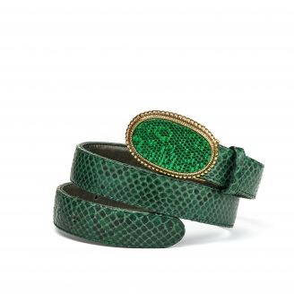 Green Forest Python Dallas Belt Gold Buckle