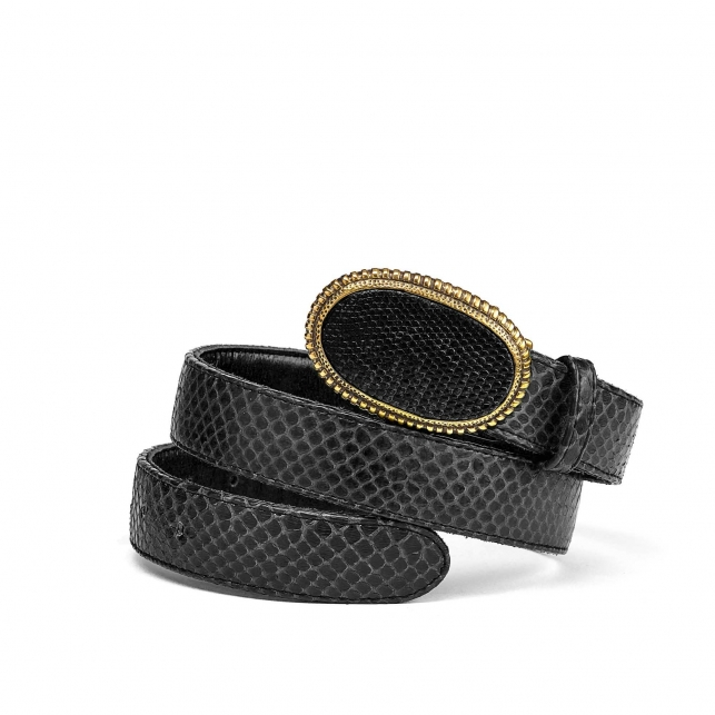 Black Python Dallas Belt Gold Buckle