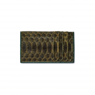 Dark Kaki Python Card Holder JL