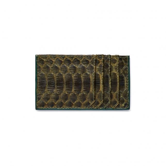 Dark Kaki Python Card Holder JL
