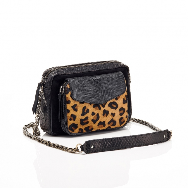 Python Leopard Black Charly Bag