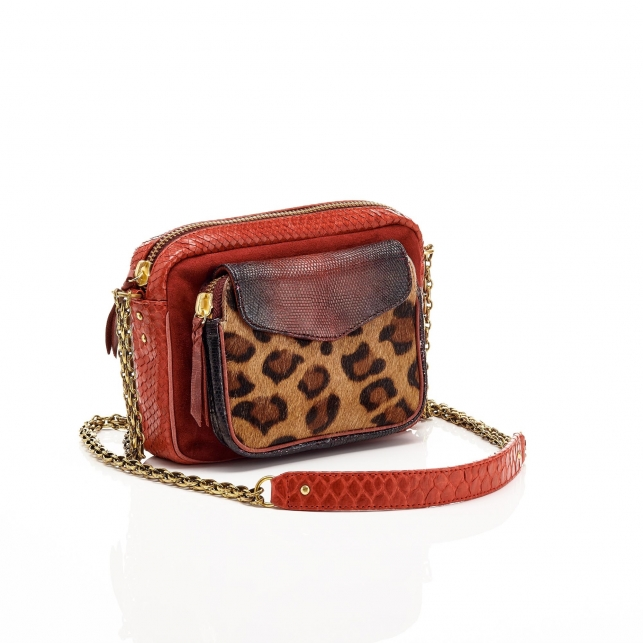 Python Leopard Burgundy Charly Bag
