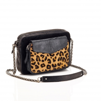 Python Leopard Black Big Charly Bag with Chain