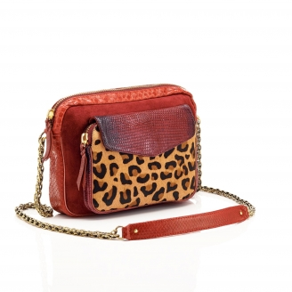 Python Leopard Burgundy Big Charly Bag with Chain