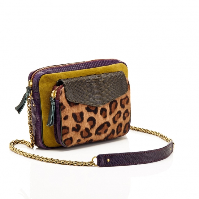Python Leopard Kaki Big Charly Bag with Chain