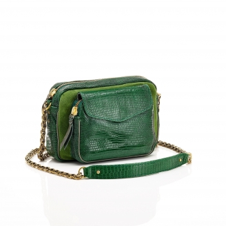 Sac Python Charly Tricolore Vert Mousse