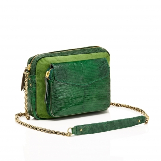 Lizard Tricolor Moss Big Charly Bag with Chain