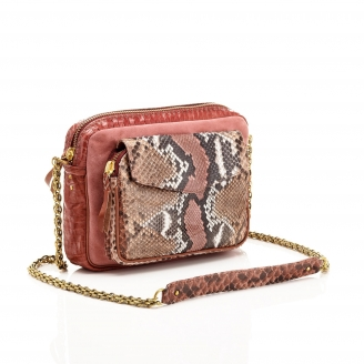 Python Pink Painted Big Charly Bag with Chain