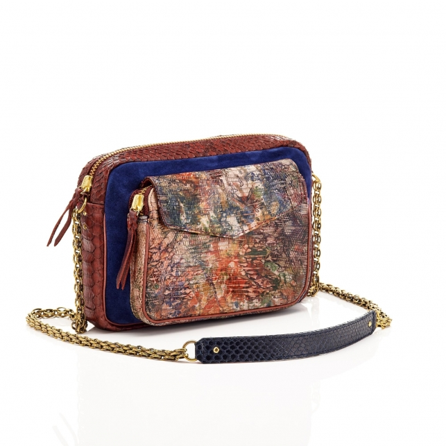 Lizard Water Color Big Charly Bag with Chain