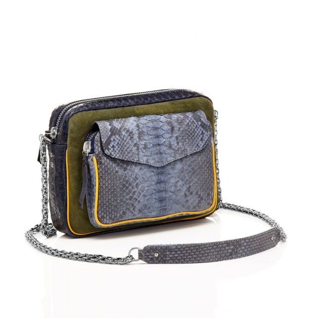 Python Tricolor Denim Big Charly Bag with Chain