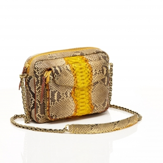 Python Yellow Painted Big Charly Bag with Chain