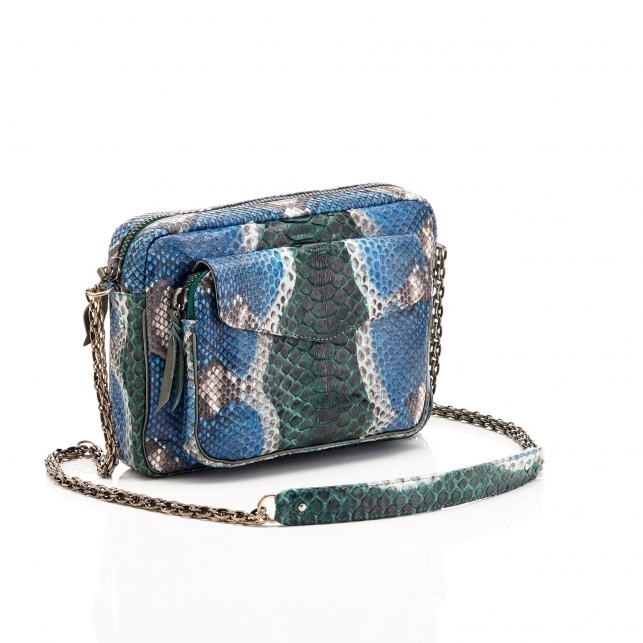 Python Ocean Painted Big Charly Bag with Chain