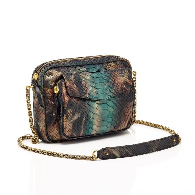 Python New Metallic Peacock Big Charly Bag with Chain