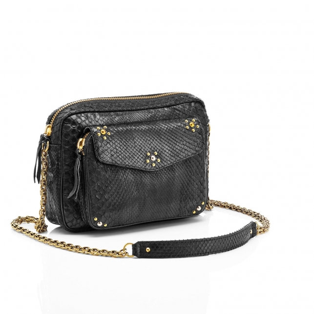 Python Black Studs Big Charly Bag with Chain