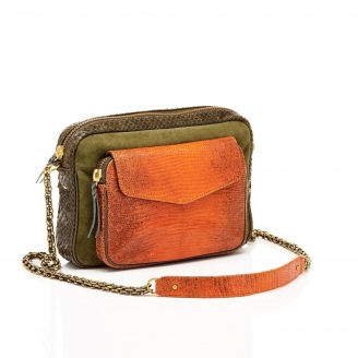 Python Tricolor Kaki Orange Big Charly Bag with Chain
