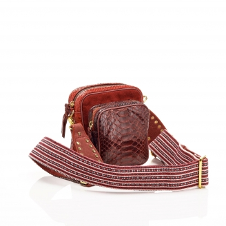 Python Burgundy Mini Charly Bag