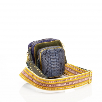 Python Tricolor Denim Mini Charly Bag