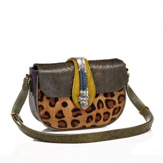 Python Bag Andrea Leopard Kaki