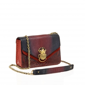 Python Burgundy Mix Romy Beatle Bag