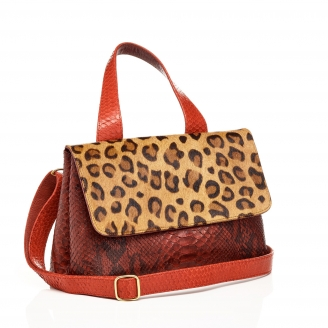 Mimi Python Bag Leopard Burgundy Red