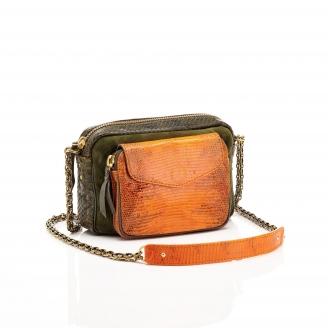 Lizard Tricolore Kaki Orange Charly Bag