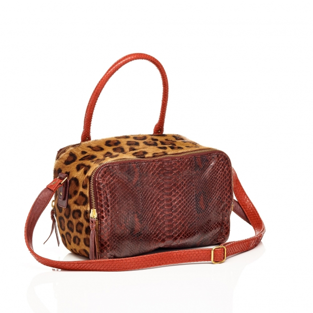 Python bag Lalya Leopard Burgundy Red
