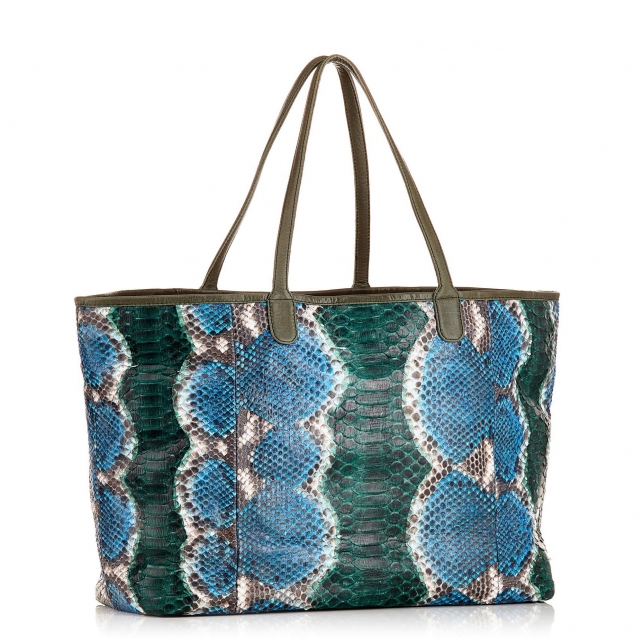 Ocean Painted  Python Tote Big Marny