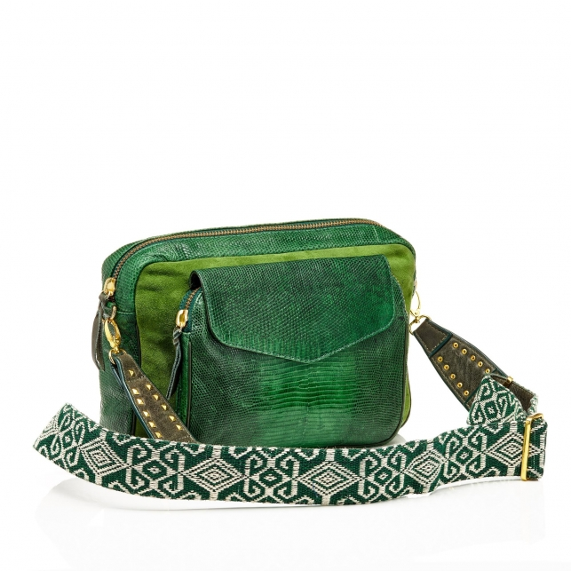 Bag Python Jumbo Charly Tricolore Moss With Shoulder Strap