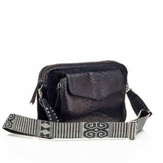 Bag Python Jumbo Charly Trimat Black With Shoulder Strap