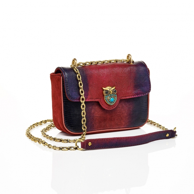 Lézard Bag Ava Owl Tricolore Burgundy