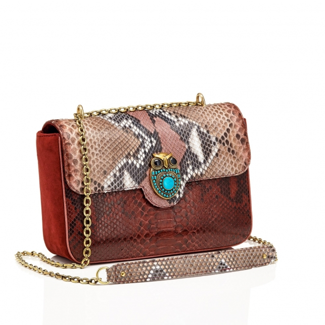 Pink Painted Python Bag Big Ava Owl