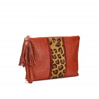 Pochette Python Andy Leopard rouge